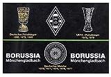 Unbekannt VFL Borussia Mönchengladbach Fohlenelf-Artikel Hissfahne Erfolge, Schwarz, 150 x 100 cm