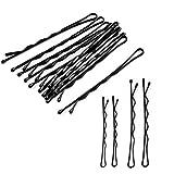 Haarnadeln, 250 Stück Schwarzes Metall Wellenform Haarklammern(200 Stück 1.97 inch und 50 Stück...