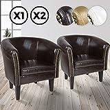 MIADOMODO Chesterfield Sessel aus Kunstleder und Holz - Bequem, mit Zierknöpfen, Set verfügbar - Lounge Sessel, Clubsessel, Armsessel, Wohnzimmer Möbel (Braun, 2er)