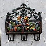 HWL Europäischen Retro Gusseisen Ablagekorb Haken Garten Dekoration Haken Vier Vogel Haken