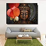 jiushice Rahmen Modern Home Decor Large Wall Art Posters for Living Room Buddha Statue Pictures HD...