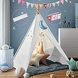 Dutetoy Tipi Kinderzimmer Spielzelt für Kinde, Zusammenklappbar Tipi Zelt für Kinder mit Tragetasche farbige Flagge, Spielzelt für Innen- und Außenspiele Kinderzelt fürKinder120*120*180cm (L*W*H)Weiß