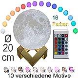 3D Mond Lampe 20cm mit Fernbedienung, Motiv 3D Mond, erhältlich in Ø 15 oder 20cm, 16 Farben. 10...