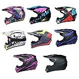 HOMAL Motocross MX Helmet/Motorrad Crosshelm, mit Handschuhe Sturmmaske und Brille Geeignet für Kinder und Erwachsene, für alle Jahreszeiten. (rot + blau, S: 52-53cm)