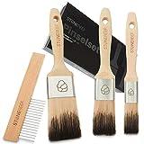 STONE REEF® - Malerpinsel Set inkl. Reinigungskamm für extra leichtes entfernen von Farbresten - Lasurpinsel mit nahtloser Edelstahlzwinge