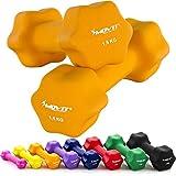 Movit 2er Set Neopren Hanteln, Kurzhanteln mit Oberfläche aus Neopren, 2X 1,5kg Orange