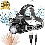 Ezfull LED Stirnlampe Kopflampe mit Geste Sensor Funktion USB Wasserdicht Wiederaufladbare...