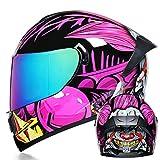 HNLong Integralhelme für Männer und Frauen Anti-Kollisions-Offroad-Helme Motorrad-Schutzhelme Winddicht Atmungsaktive Profi-Helme-Pink Color Mirror_L (59-60)