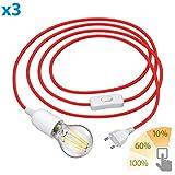 ledscom.de Textilkabel LEHA mit Stecker, Schalter und E27 Fassung, rot, 3m inkl. LED Lampe 7W=60W...