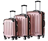 BEIBYE Hartschalen Koffer Trolley Rollkoffer Reisekoffer 4 Zwillingsrollen Polycabonat (Rosa Gold,...