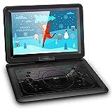 QKK 14.1' tragbarer DVD Player, Auto DVD Player, 6 Stunden Akku, 270°drehbares HD Display,...