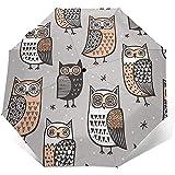 Owls Travel Umbrella Sonnenschirm-Lightweight Windproof Sunscreen Umbrella-Auto Öffnen und...