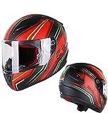 Zjcpow Bluetooth Integrierte Motorradhelme, Anti-Fog-Helm mit Zwei Linsen Motorradhelm DOT/ECE-zugelassene atmungsaktiv, abnehmbare Lüftungsschlitz Motocross Outdoor-Reisen Helme 2XL = 60~61CM xuwuhz