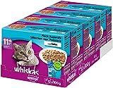 Whiskas 11 + Katzenfutter, Hochwertiges Nassfutter für gesundes Fell,  Fischauswahl, 4er Pack (4 x...