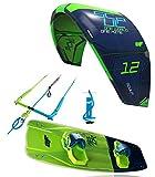 CrazyFly Kiteboarding 2018 Sculp 10m Kite & Raptor 135 x 43 Board Package, Green, 10