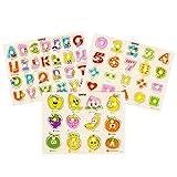 TOYMYTOY Holzpuzzles Spielzeug Set Buchstaben und Nummer, Geometrischen Obst Puzzles Klassische...