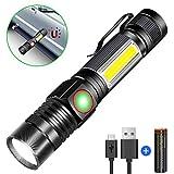 Taschenlampe LED Magnet USB Aufladbar, Karrong Zoom Wasserdicht 4 Modi Taschenlampen für Outdoor...
