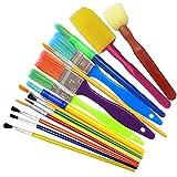 Schule Künstlerpinsel Set Kinderpinsel Set Ölfarben Bürste Aquarell Flachpinsel Künstler Pinselset Malen Haarpinsel Schwammpinsel Flach und Rundpinsel für Anfänger Kinder Künstler Bunt 15 Stück