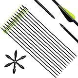 Narchery Pfeile Carbon, 31 Zoll Bogenpfeile für Bogenschießen mit Kunststoffbefiederung,...