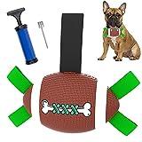 Hundespielzeug Ball, Hundeball 21cm Hund Rugby Spielzeug mit Greiflaschen, interaktives Hundespielzeug mit Ballpumpe, Trainingsball Hundespielzeug für kleine und mittelgroße Hunde