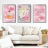 YuanMinglu Nordic rosa Traum Poster und Drucke Kuchen Süßigkeiten Mädchen Raumdekoration Dessert...