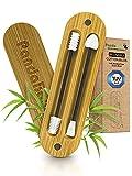 NEU: 2 wiederverwendbare Wattestäbchen [100% CO² neutral & TÜV GEPRÜFT] - Weiche Silikon Ohrenstäbchen - Ohrstäbchen wiederverwendbar für Make-Up + Q Tips Bambus Box - PandaBaw® Farbe: schwarz