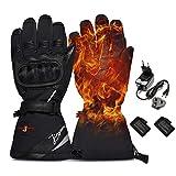 LONHEO Beheizte Handschuhe motorradhandschuhe Elektrische Handschuhe Akku Handschuhe Winter Snowboard Schnee Ski Handschuhe Männer Frauen (Schwarze Motorradhandschuhe, M)