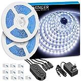 MINGER LED Streifen Kaltweiss 10m, Dimmbar LED Streifen Kit mit 12V Netzteil, 6500K 600 LEDs...
