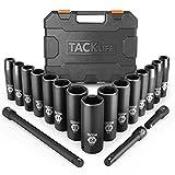 Impact Socket Set, TACKLIFE 18pcs Schlagschrauber Nüsse Set mit 1/2 Zoll Antrieb, 10-24mm Sechskant Nüsse -Metric, 3, 5, 10-inch Verlängerungsstange HIS1A