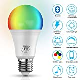 Smart LED Lampe Bluetooth Mesh RGBCW E27 Dimmable LED Birne 7W Farbige Leuchtmittel APP, Musik & Mic...