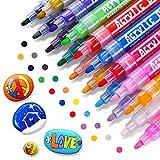 RATEL Acrylstifte für Steine Acrylstifte Marker Stifte, 18 Farben Premium Acrylstifte Wasserfest Paint Marker Set Acrylic Paint Pens Acrylic Stifte Zum Malen Acryl Stifte für DIY Stein,Papier