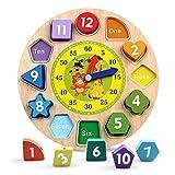 Reastar Lernuhr Uhr-Spielzeug aus Holz Lernspiel aus Holz Kinderspielzeug Lernuhr Montessori...