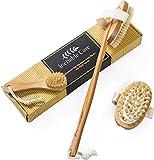 Körperbürste & Massagebürste - Trockenbürste für-Massage mit natürlichen Wildschweinborsten...