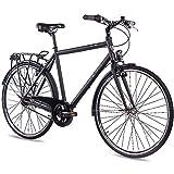 CHRISSON 28 Zoll Citybike Herren - City One schwarz matt 56 cm - Herrenfahrrad mit 7 Gang Shimano...