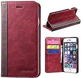 LENSUN iPhone 6 Handyhülle, Echte Rindsleder Brieftasche Stand Hülle für Apple iPhone 6 / 6S 4.7'...