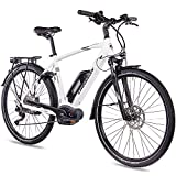 CHRISSON 28 Zoll Herren Trekking- und City-E-Bike - E-Actourus Weiss matt - Elektro Fahrrad Herren -...