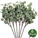 Whaline 6 Stück künstliche Silber-Eukalyptus-Zweige 59,9 cm Spray Eukalyptusblatt für Pflanzen...