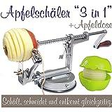 Made for us - Profi Alu- Apfelschäler Apfelschneider Apfelentkerner Schälmaschine mit Apfeldose,...