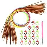 Mostfun 18 Größen Stricknadeln Bambus Stricknadel Strickset mit Buntem Kunststoffrohr für Anfänger und Profis 80cm