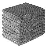 Gryeer 8er-Set Mikrofaser Geschirrtücher, saugstark und dicke Küchentücher, einseitig gerippt einseitig glatt Trockentücher, 45x65cm, Grau