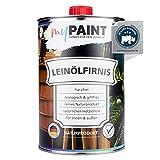 myPAINT® biologisches Leinölfirnis (1 Liter, seidenglänzend) schützendes Holz ÖL für Innen und Außen - pflegendes Holzöl aussen - Made in Germany