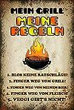 Mein Grill Meine Regeln Blechschild Metallschild Schild gewölbt Metal Tin Sign 20 x 30 cm