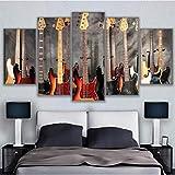 Pbbzl Leinwandbilder Hd Drucke Wandkunst 5 Stücke Musikinstrument Gitarre Gemälde Wohnkultur Bass...