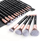 Anjou Make Up Pinsel Set 16pcs Professionelles Mattrosegoldenes Schminkpinsel Kosmetikpinsel...