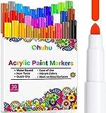 Acrylfarben Stifte , Ohuhuc 30 Farben Cotton Core Acrylstifte für für Steine, die Felsmalkunst, Keramik, wasserbasierte für Porzellan, Metall, Holz, Stoff, Leinwand, Glas