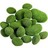 MINGMIN-DZ Dauerhaft 40 Stück 2 Größen Artificial Moss Rocks Dekorative Faux Green Moss Steinen bedeckt