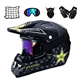 MRDEAR Motorrad Crosshelm mit Brille (5 Stück) - Schwarz/Rockstar - Adult Motocross Helm...
