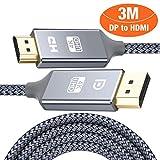 HDMI auf DisplayPort Kabel 4K 3m,DP zu HDMI Kabel Nylon Geflochtener,Snowkids Display Port Stecker...