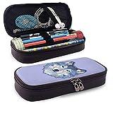 Leder-Federmäppchen, Blue Wolf Bedruckte Federtasche mit Reißverschluss Schreibwaren-Tasche Reißverschlusstasche Bleistifthalter