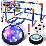 EXTSUD Air Power Fußball Kinderspielzeug, Hover Soccer Ball LED-Licht Fussball mit Fußballtore Hockeyschläger Schwebehockey Geschenke für Junge Mädchen Spiel Sport Indoor Outdoor